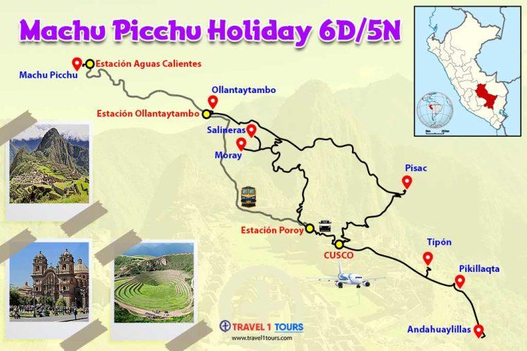 Mapa del tour Machu Picchu Holiday